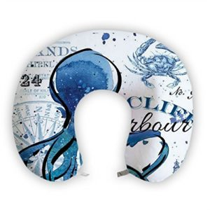 JessPad U-Shape Travel Pillow Watercolor Blue Sea World Memory Foam Neck Pillow