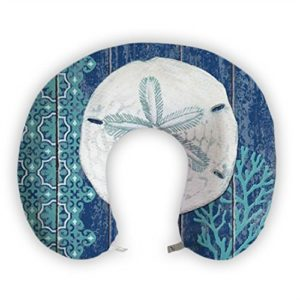 JessPad U-Shape Travel Pillow White And Blue Sea Memory Foam Neck Pillow