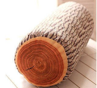 JustNile Ultra Soft 3D Wood Log Decorative Throw Pillow   Sleeping Cushion for Bed Sofa Office Chair Car Seat Armrest  Home& Travel   Natural Creative Design  Made for Superior Comfort   Rustic Cabin Décor