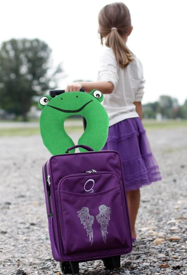 Kid's Bright Green Frog U-Shaped Travel Neck Pillow (Terry-Cloth) by bogo Brands