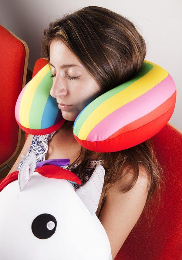 Kikkerland Unicorn Zip & Flip Travel Neck Pillow