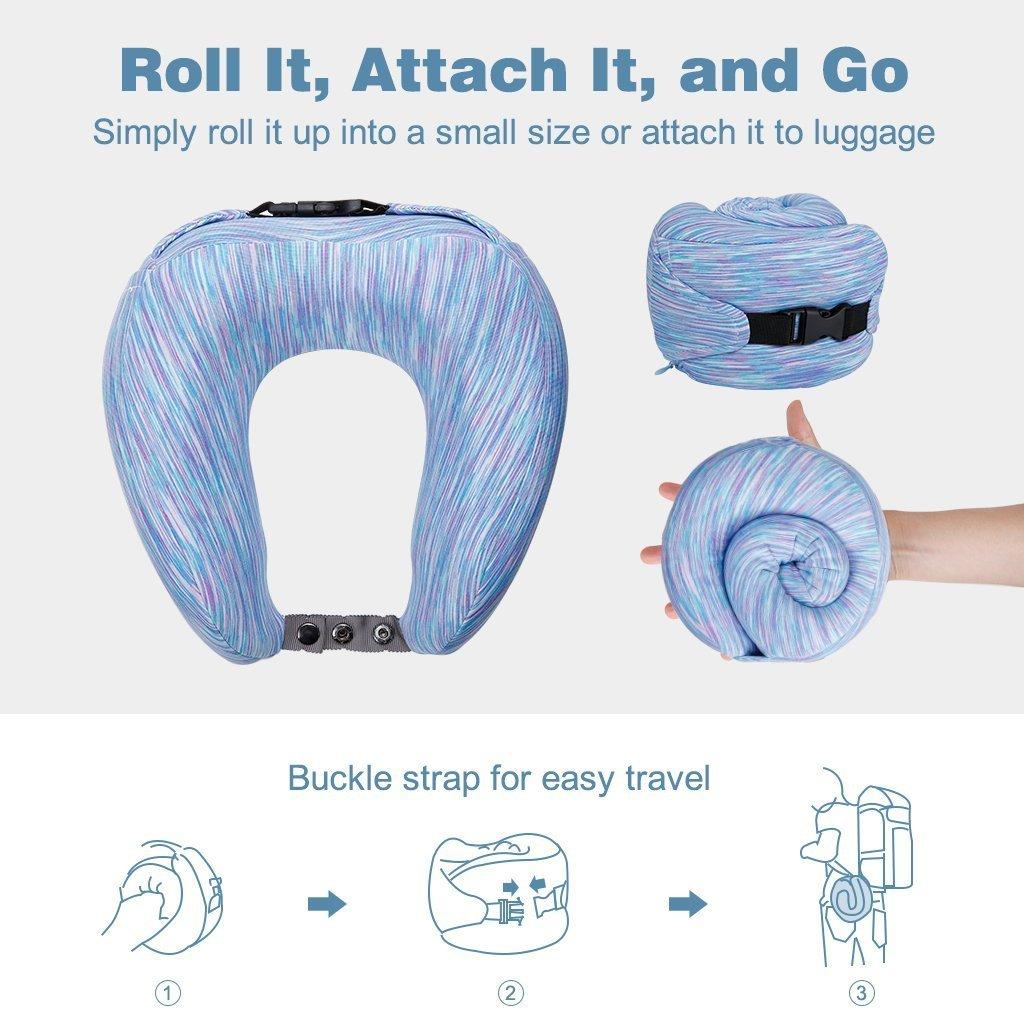Memory Foam Neck Pillow U-Shape Travel Ergonomic Contoured Adjustable Size New