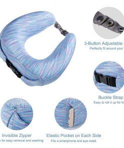 LANGRIA Memory Foam Neck Pillow Ergonomic Contoured U-Shape Travel Pillow with Adjustable Neck Size Washable Cover for Plane Train Car Bus Office (Striped Arctic Blue)