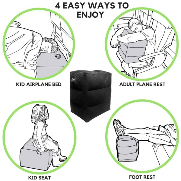 Leg Rest Pillow - Best Inflatable Travel Foot Rest For Airplane - Great Travel Leg Rest Pillow For Kids & Adults + FREE Pump & FREE Carrying Bag