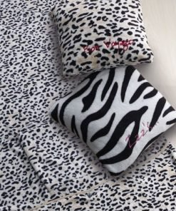 "Leopard Travel Blanket and Pillow Set - Embroidered with ""Bon Voyage"""