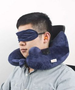 Longfit Soft Velvet Inflatable Travel Neck Pillow with Built-in Pump, Extra-Soft Washable Cover, and Compact Travel Pillow Set for Airplane,Traveling and all kinds of Relax