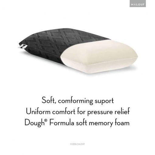 MALOUF Z by Travel DOUGH Memory Foam Pillow Removable Rayon from Bamboo Velour Cover 5-Year Warranty