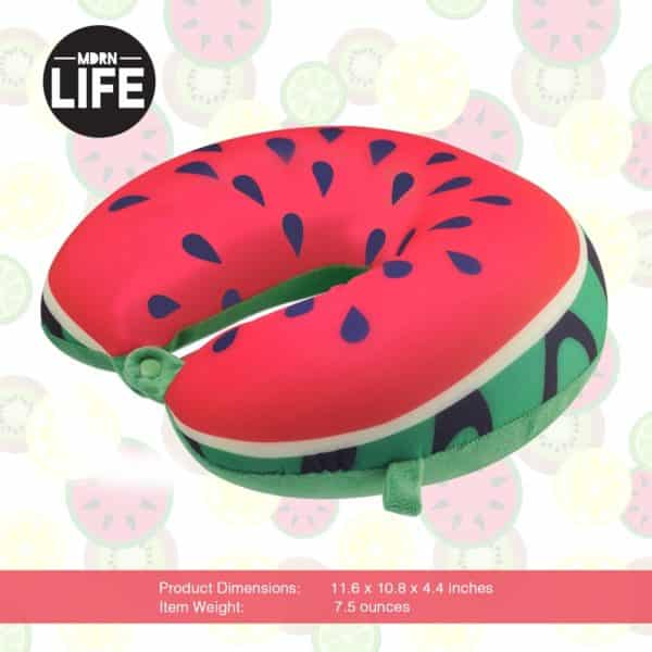 MDRN Life Neck Pillow for Kids & Adults - Microbead Travel Neck Pillow for Sleeping and Cervical Support - Watermelon