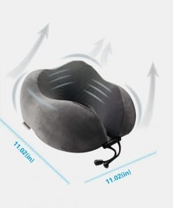 M&HONG Travel Pillow - Memory Foam Neck Pillow with 360 Head & neck Support Comfortable For Long Flight, Airplane, Train, Reading, Working, Ergonomically (Grey2)