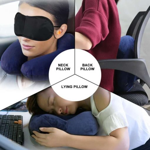 MLVOC Inflatable Travel Pillow, Auto-Inflating Neck Pillow with Soft Velvet Cover Machine Washable for Airplane - Blue