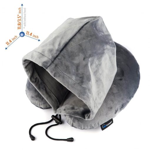 Memory Foam Airplane Travel Pillow Set w/3D Contour Face Mask Provides Optimal Head & Neck Support, Hooded Design Blocks Out Light So Your Plane Ride Transforms into a Relaxing Oasis