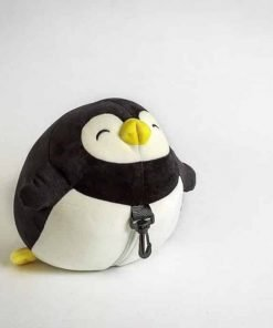 Moaly Zip and Flip U Shaped Head Support Neck Comfort Penguin Travel Pillow (Black)