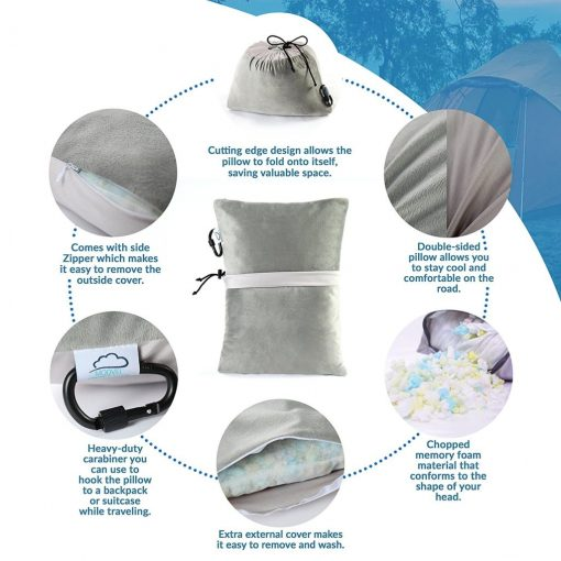 Modvel Compact Travel Outdoor Pillow - Compressible Shredded Memory Foam for Comfort and Neck Support - Great for Adults, Kids, Camping, Air Travel, Road Trips, and More! Take Anywhere! S (MV-107)
