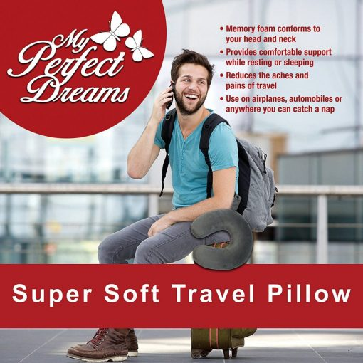 My Perfect Dreams Premium Travel Pillow (Grey), SLEEP WITH NO NECK PAIN, Super Soft Memory Foam Neck Pillow EASY WASHING with removable cover by