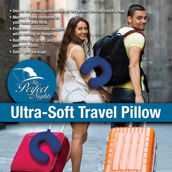 My Perfect Nights Premium Travel Neck Pillow (Blue) Super Soft Memory Foam with Washable Cover by