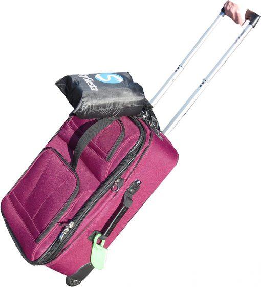 NEW!! SkySiesta SNUG Travel Pillow- Two L-Shaped, Fiber Filled Head Supports, Bag, Eye Mask