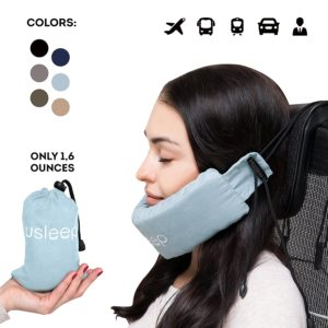 New premium travel pillow set – v neck pillow – high long wide neck compatible for women men kids - travel cervical neck pillow (blue)