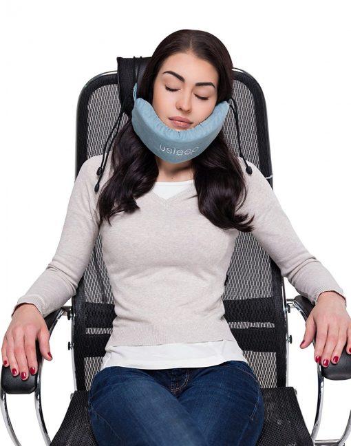 New premium travel pillow set – v neck pillow – high long wide neck compatible for women men kids - travel cervical neck pillow (blue)