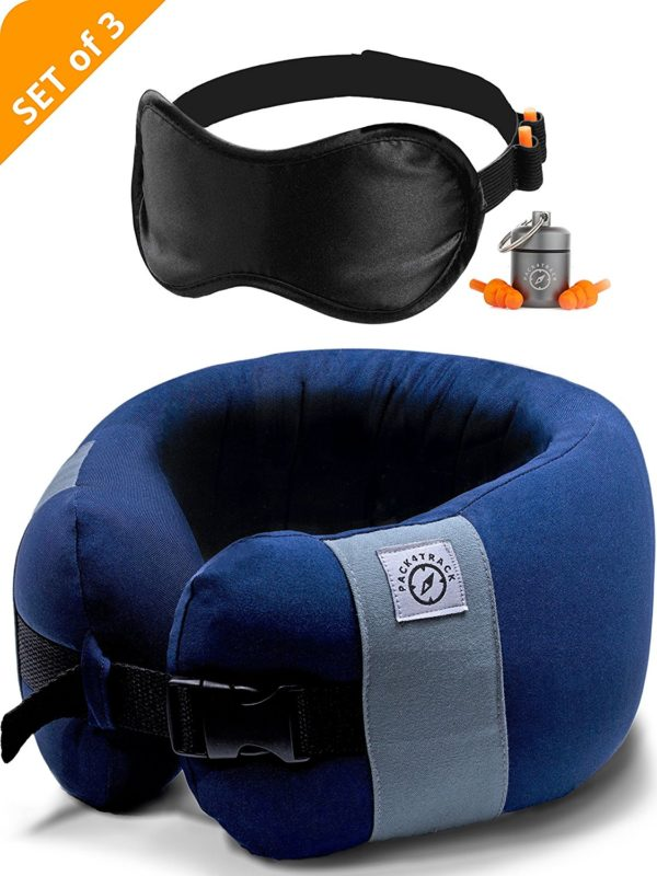 PACK4TRACK Travel Pillow Set - Uniquely Designed To Be The Best Neck Pillow For Women and Men - No More Neck Muscle Pain
