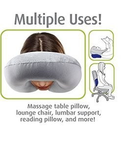 PROMIC Travel Pillow - Memory Foam Neck Roll Extreme Comfort with Plush Velvet Cover - Provides Relief and Support for Travel, Home, Neck Pain (Portable)