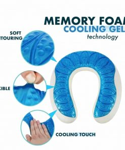 Perry Ellis Luxury Travel Neck Pillow with Cooling Gel And Therapeutic Memory Foam