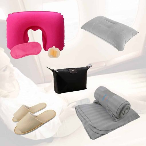 Pretie Trip Travel Comfort Kit:U shape Inflatable Neck Pillow (Travel Pillow), Eye Mask, Earplugs, Inflatable Back Pillow,Cosmetic Bag, Slippers, Blanket, Air Pump. (8 Pcs Tavel Set, Rose Pink)