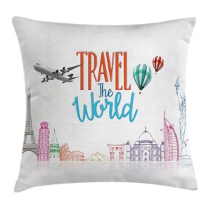 Quote Decor Throw Pillow Cushion Cover by Ambesonne, Travel The World Lettering with Around World Landmarks Balloons Artwork Image, Decorative Square Accent Pillow Case, 16 X 16 Inches, Multicolor
