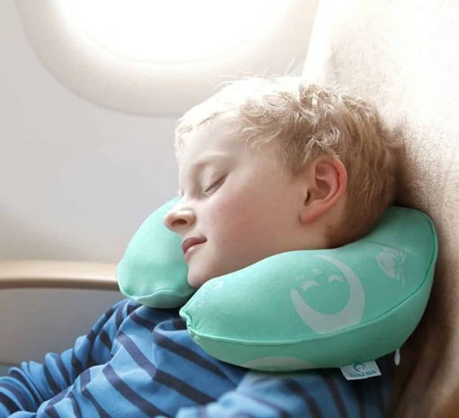 Restcloud Kids Travel Neck Pillow for Airplane - Head and Neck Support Pillow for Kids Age 3 to 12 (Green)