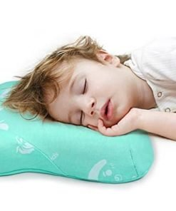 "Restcloud Toddler Pillow with Naturally Antimicrobial Pillowcase, Double Contours for Kids Age 2 to 7, Travel Size 15"" x 10"" (Green)"