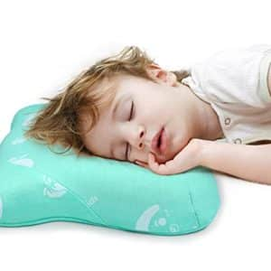 """Restcloud Toddler Pillow with Naturally Antimicrobial Pillowcase, Double Contours for Kids Age 2 to 7, Travel Size 15"""" x 10"""" (Green)"""