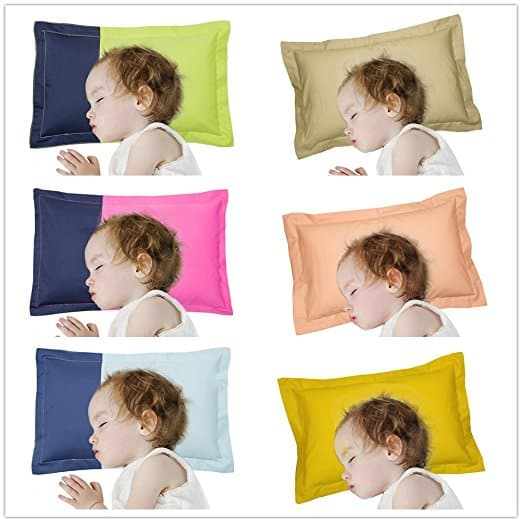 SLOW COW Toddler Pillow Include Pillowcase, Delicate Organic Cotton Hypoallergenic Shell, Designed for 1-3 Year Kids