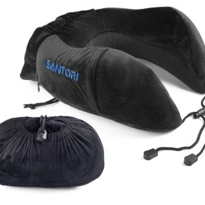 Santori Premium Travel Pillow, Memory Foam U-Type Neck Pillow for Airplane Travel, Train, Bus, Car and Camping, Removable and Washable Soft Velour Cover, Side Pocket for Mobile Devices (Black or Blue)