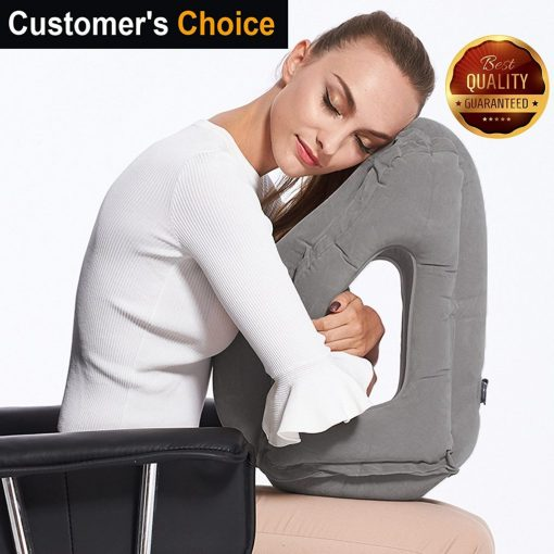 Sencezo Inflatable Travel Pillow Sleep Aid - with Eye Mask, Earplugs, Carry Pouch - Airplane Pillow for Long-Haul Flights & Road Trips – Fast Inflate-Deflate, Compact, Fully Supportive Accessories