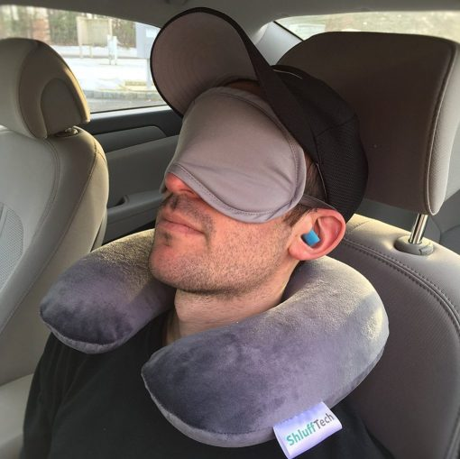 ShluffTech Travel Pillow Set- Memory Foam Neck Roll , Light Blocking Eye Mask and Noise Reduction Foam Ear Plugs -Travel Accessory Set - Travel In comfort Arrive Well Rested (Grey) - By OLIVIA & AIDEN