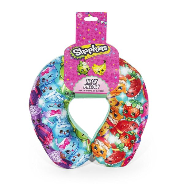 Shopkins Rainbow Multi Colored Travel Neck Pillow For Kids.
