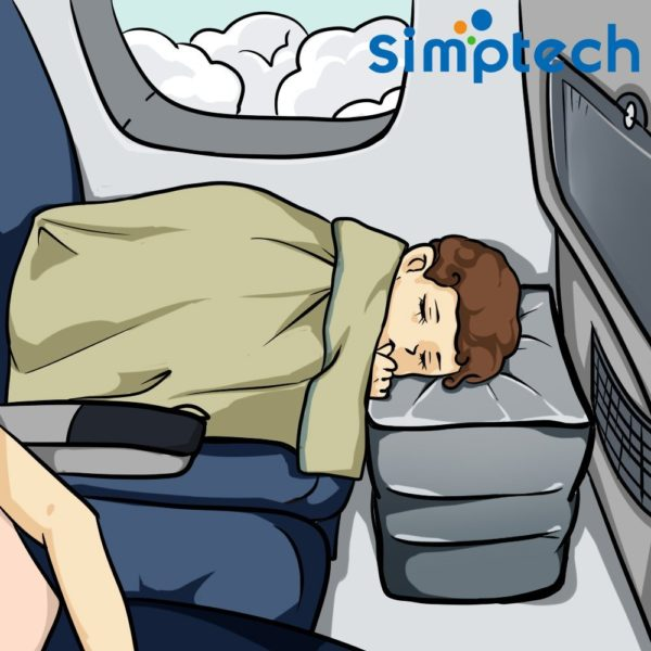 Simptech Travel-Airplane Pillow for Leg-Foot Rest, Inflatable Multi-function for kids to Lay Down or Sleep on Long Flights,Suitable for Airplanes, Cars, Buses, Trains, Office Napping, Camping