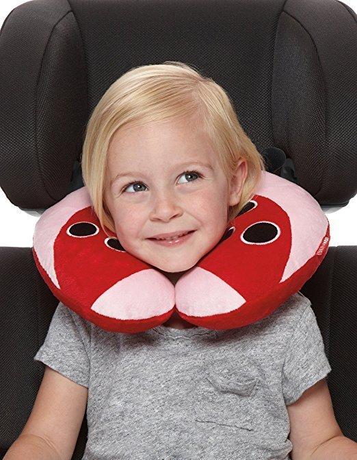 Skip Hop Zoo Little Kid and Toddler Travel Neck Rest, Soft Plush Velour, Multi Livie Ladybug