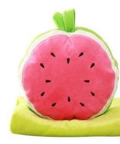 Skyseen 3 in 1 Fruit Nap Blanket &Stuffed Toy& Pillow Set Adults Kids Throw Pillow Cushion,Watermelon