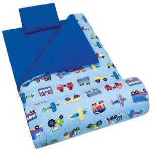 Sleeping Bag Wildkin Original Sleep Sack, Matching Travel Pillow and Storage Bag, Cotton/Microfiber Exterior, Cotton Flannel Interior, 5-12 years – Planes, Trains, Trucks