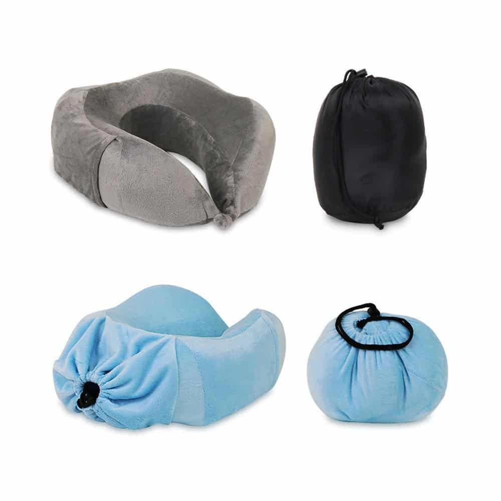 Slow Rebound Memory Foam Travel Pillow U Shaped Neck With Attached Carry Bag