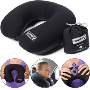 Soft-Top Inflatable Neck Pillow for Travel - Our Super Soft, No-Sweat Fabric and Perfect for the Airplane, Car, Bus or Train by ONWEGO
