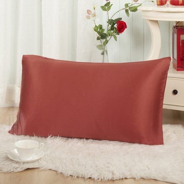 "THXSILK 19 Momme Mulberry Silk Pillowcase for Hair and Skin-Pure Natural Silk on Both Sides, Envelope Closure, Hypoallergenic- Great for Child and Travel 12"" x 16"", Deep Red"