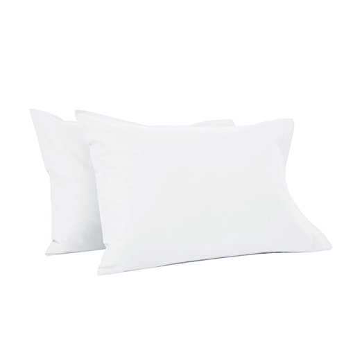 TILLYOU Toddler Travel Pillowcases Set of 2, 14x20- Fits Pillows Sized 12x16, 13x18 or 14x19, 100% Soft Cotton Percale, Envelope Style Machine Washable Kids Pillow Cases, White