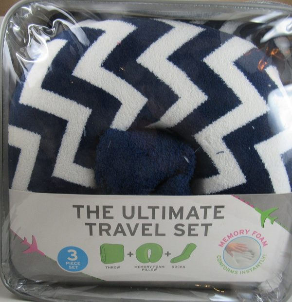 The Ultimate Travel Set 3 In One Memory Foam Pillow Throw And Socks