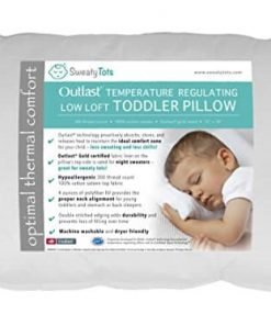 Toddler Pillow for Hot or Sweaty Sleepers - 13 x 18, White, 300TC Cotton Sateen, Features Outlast(R) Temperature Regulating Technology to Reduce Overheating (Low Loft)