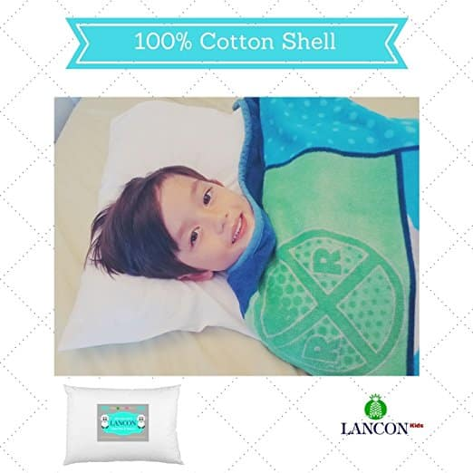 Toddler Pillow with Pillowcase by LANCON Kids - White 13 x 18, 100% Cotton, Premium Quality, Soft Hypoallergenic & Machine Washable. Perfect Small Pillow for Kids Age 2