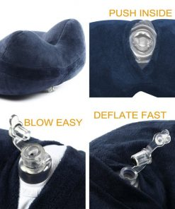 Travel Pillow, FMAB 2PCS Inflatable Neck Pillow with Ear Plugs, Eye Mask, Drawstring Bag and Soft Velvet Neck Support