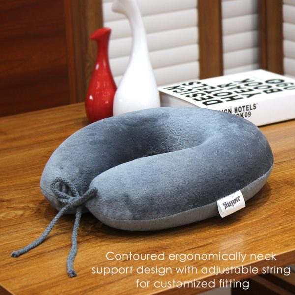 Travel Pillow Memory Foam Neck Support on a Train, Airplane, Car, Bus or while Camping - Comfortable U Shaped Cushion. Neck Support Plane Pillow By JUNING