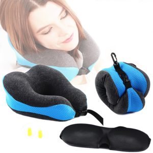 Travel Pillow - Neck Pillow - Airplane Pillow - Memory Foam Neck Support Pillow Set - Travel Neck Pillow - U-Shaped Neck Pillow – Perfect for flight trip car train office nap – Washable Cover