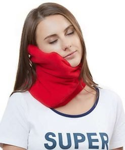 Travel Pillow Scientifically Proven Super Soft Neck Support Machine Washable Very Easy Attachable to Luggage Comfortable Compact Lightweight Neck Pillow Scarf Red Color Best for Plane Bus Car Voyage